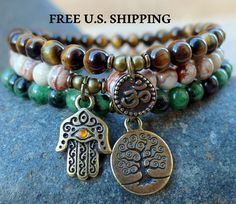 Yoga stack set of 3 mala bracelets Yoga by LifeForceEnergy on Etsy, $34.00