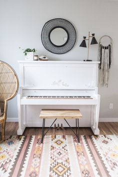 Home Office & Music Room Update - Boho-skandinavischer Mid-Century Chic- Boho -.Home Office & Music Room Update - Boho-skandinavischer Mid-Century Chic- Boho -., amp Boho Bohoskandinavischer Chic Home 12 Times Prince Lived up to His Painted Pianos, Piano Room, Piano Studio Room, Piano Bench, Living Spaces, Living Room, Home Decor Inspiration, Design Inspiration, Home And Living