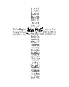 Art Print: Names of Jesus Cross Silhouette White by Inspire Me :