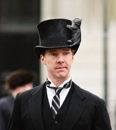 Or find a spot on his top hat, just to be close to him.   19 Very Important Photos Of Benedict Cumberbatch With Kittens