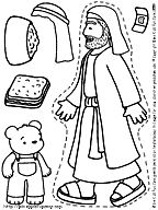 Printable stickers for the story of The Good Samaritan for children to color.