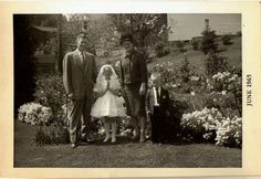 Old Vintage Antique Photograph Little Girl With Family First Holy Communion Dres