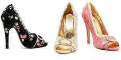 Victorian Style Fabric Décor Lace Peep Toe Pumps High Heels Shoes Adult Women