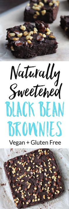 These healthy and delicious Naturally Sweetened Black Bean Brownies have no added sugar and are vegan and gluten free. via @euphorianutr