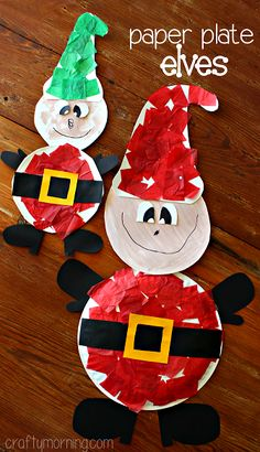 Funny Paper Plate Elf Craft #Christmas craft for kids to make | CraftyMorning.com