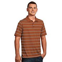Men's Antigua Striped Performance Golf Polo, Size: Medium, Brt Orange