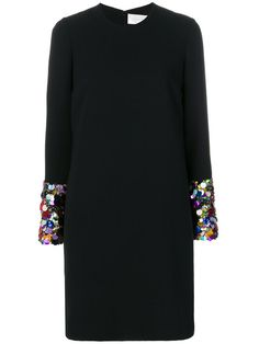 Victoria Victoria Beckham shift dress with sequinned cuffs