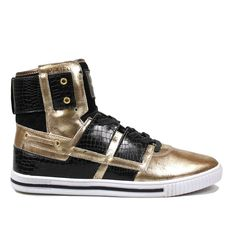 Vlado Footwear Men's New Age Gold/Black Leather Sneakers 8.5M