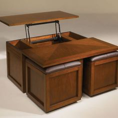 Cherry Lift Top Square Coffee Table With Ottoman Time Left