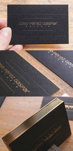 Textured Letterpress Gold Foil Edge Painted Business Card Black and White and Gold Design Corporate Design, Business Card Design, Creative Business, Corporate Identity, Gold Business Card, Elegant Business Cards, Salon Business Cards, Design Graphique, Art Graphique