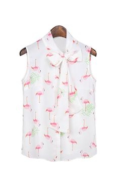 Goodnight Macaroon FLAMINGO PRINT SLEEVELESS CHIFFON BLOUSE AS SEEN ON MIRANDA KERR