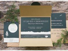 Lake Tahoe rustic wedding invitations   Sarah Jane Winter Photo & Design