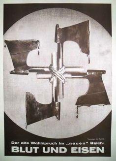 O artista Jonh Heatfield foi um dos pioneiros a utilizar a arte como critica politica. Aqui neste exemplo está representada uma fotomontagem que têm como mote uma propaganda anti-nazi.