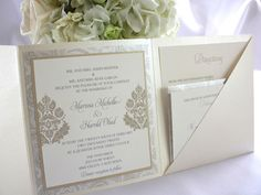 Elegant champagne and gold wedding invitation