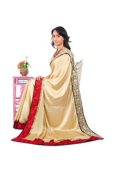 Beige Saree with Red & Golden Embroidered Border