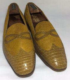 ed8263461c Mauri Crocodile Leather Pony Hair Slip On Loafers Wingtip Yellow Men US 11  Italy  Mauri