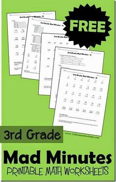 Have fun practicing math with these FREE 3rd Grade Mad Minutes math worksheets. Click here for more free math resources for #teachingkidsmath #mathgamesfor3rdgrade