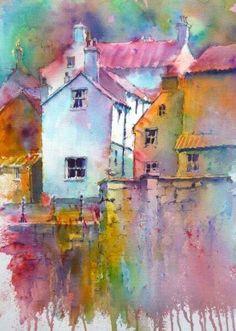 Brusho landscape watercolor