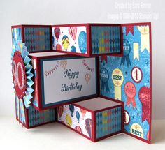 World Spectacular 90th birthday card (side view) - Stampin' Up!