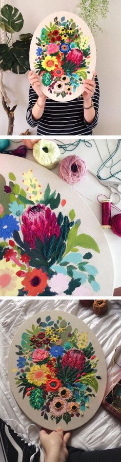 Artist Jo Jimenez creates lush floral art using a combination of painting and stitching.