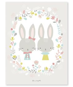 Affiche bébé enfant lapins