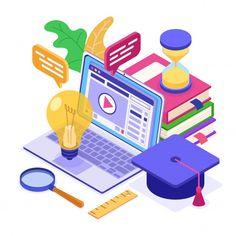 Educación a distancia en línea desde cas... | Premium Vector #Freepik #vector #escuela #libro #ordenador #educacion