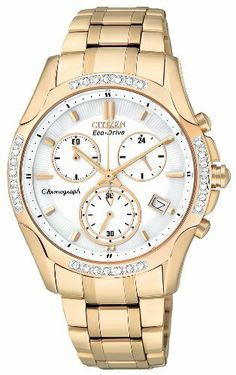 Citizen Women's FB1253-54A Eco-Drive Rose Gold Tone Diamond Chronograph Watch Citizen. $431.25. 1 second chronograph measures up to 60 minutes; Spherical sapphire glass; Eco-drive, fueled by light; Rose gold tone stainless steel case and bracelet; Water-resistant to 30 M (99 feet). Save 25%!