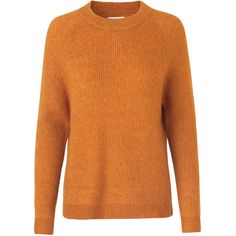 ENBOBO KNIT 5125 (235 BRL) ❤ liked on Polyvore featuring tops, sweaters, orange sweater, long sleeve sweater, orange knit sweater, thick sweaters and long sleeve knit sweater