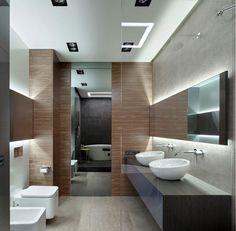 carrelage pierre naturelle dans la salle de bains moderne, miroir rectangulaire et vasques à poser