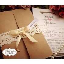 Convites De Casamentos Rustico Rendado Lindo 10 Un + Brindes