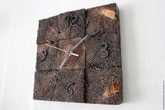 Купить настенные часы из спилов - комбинированный, сосна, спил, гвозди, часы, часы настенные