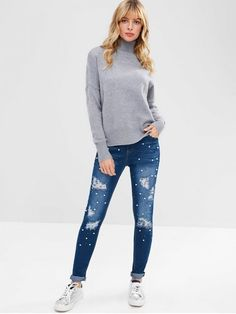 d30ad7ef8 Denim Dark Blue Fall Beading Zipper High Skinny Normal Dark Fashion Ripped  Beads Embellished Jeans Uñas