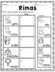 Palabras que rima -corta y pega/ Rhyming Words in Spanish cut and paste Spanish Lessons For Kids, Spanish Teaching Resources, Spanish Activities, Spanish Language Learning, Learning Activities, Language Arts, Dual Language Classroom, Bilingual Classroom, Bilingual Education