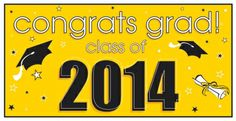 Show how proud you are of your graduate with our Class of 2014 yellow #graduation banner! Works perfectly with school colors that feature yellow! Only $2.99 from Parties2order