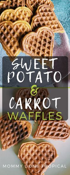 Sweet Potato Carrot Waffles gluten free option / get more veggies into your breakfast Yummy Waffles, Healthy Waffles, Sweet Potato Waffles, Healthy Snacks, Baby Sweet Potato Recipe, Sweet Potato Cookies, Vegan Snacks, Nutritious Meals, Healthy Smoothies