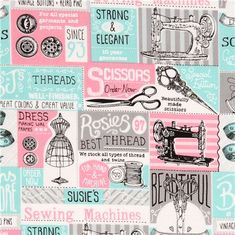 pink turquoise 'vintage Sewing Tools' fabric sewing machine Timeless Treasures  2