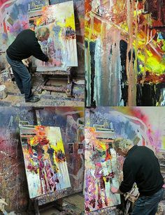 Gerard Stricher working in his studio. He's into messy freedom. Love his work...looks like he's almost sculpting his paint.