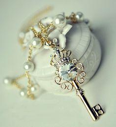 Crowned Rhinestone Fashion Key Necklace | LilyFair Jewelry, $10.99!