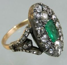 """English ca 1820 silver and gold ring set with table cut emerald and diamonds around. Ring size : """"M"""" = US 6+1/2"""