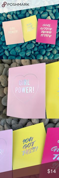 Set of 3 Girl Boss Journals *Posh Compliant Item* Set of 3 mini journals with lined paper. Each one has 12 sheets, total of 36. Brand new, never used. Light pink one has a slight flaw on the back. Show off your femme/girl power spirit at the office or school. Shout out to all the women who make it happen ... you all are solid gold ✌  Length: approx 5 inches Width: approx 4 inches   { Posh Ambassador } { 700+ Sales }   | No Trades | Lady Jayne Accessories