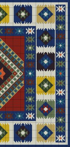 Anchor Kilim Carpet of Bead Loom Patterns, Cross Stitch Patterns, Quilt Patterns, Cross Stitching, Cross Stitch Embroidery, Southwestern Quilts, Cross Stitch Silhouette, Cushion Cover Pattern, Cross Stitch Geometric