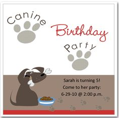 dog party invitations - Google Search