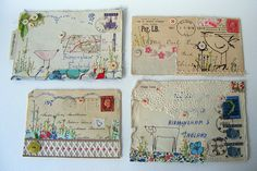 Hen Teeth Collage and Stitch Envelope Art (Image Credit: Viv Sliwka) Letter Art, Letter Writing, Mail Art Envelopes, Decorated Envelopes, Decorated Letters, Envelope Art, Lost Art, Art Graphique, Mix Media