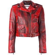 Moschino trompe-l'oeil biker jacket ($3,695) ❤ liked on Polyvore featuring outerwear, jackets, red, moschino jacket, red jacket, zip front jacket, rider jacket and cropped moto jacket