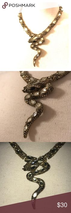 """Cool serpent/snake gold tone metal necklace 18"""" long and the snake is 3.5"""" long. Has large pear shaped stones on each link and along the snakes body. Unmarked that I can see. Has a forked tongue sticking out. Heavy. Jewelry Necklaces"""