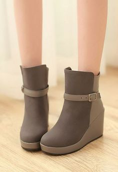 Elegant Retro Buckle Strap Mixing Color Wedge Ankle Booties for big sale!