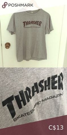 Shop Women's Thrasher Gray size M Tees - Short Sleeve at a discounted price at Poshmark. It looks good with high waisted black jeans. High Waisted Black Jeans, Thrasher, Plus Fashion, Fashion Tips, Fashion Trends, Gray Color, T Shirts For Women, Tees, Sleeves