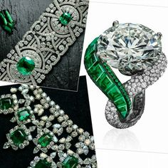 I'm in the mood for #emeraldsanddiamonds from my #virtualjewellerycloset today! Fabuluxe de Grisogono ring features a 16.05 carat white diamond framed by a ribbon of baguette-cut emeralds on one side and snowset diamonds on the other. A Grafftastic emerald and diamond bracelet and sensational matching necklace. @graffdiamonds @degrisogono @mataul