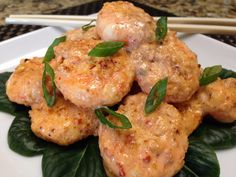 Bang Bang Shrimp made low carb and Keto friendly, with the same familiar flavors and spicy kick! This recipe is easy and quick, perfect for week nights! Low Carb Shrimp Recipes, Seafood Recipes, Keto Recipes, Healthy Recipes, Keto Foods, Tasty Meals, Tilapia Recipes, Diet Meals, Seafood Dishes