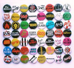 aesthetic Punk New Wave Band Collection - 56 Badges inc The Damned, The Clash etc
